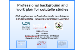 Professional background and work plan for cotutelle studies
