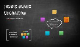 1920's Black Education