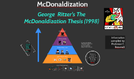 mcdonaldization thesis ritzer 1996 The mcdonaldization thesis: :291-308 september 1996 in service work has even led some scholars to argue for a  mcdonaldization  of society (ritzer.