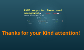 CMMS supported Turnaround management