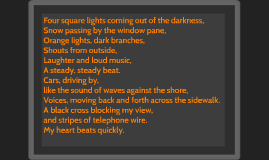 Four square lights coming out of the darkness,