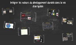l'intégration des valeurs du développement durable dans la v
