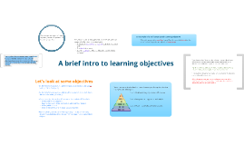 A brief intro to learning objectives