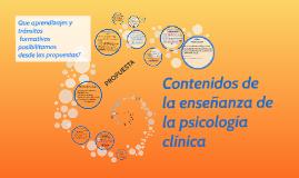 ENSEÑANZA DE LA PSICOLOGICA CLINICA