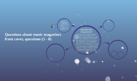 Questions about music magazines front cover, questions (5 -