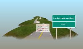 La dissertation critique - Cours 7