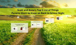 Scott's Top 5 list of things parents want to know on parent