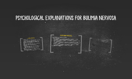 PSYCHOLOGICAL EXPLANATIONS FOR BULIMIA NERVOSA