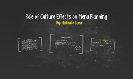 Role of Cultural Effects on Menu Planning