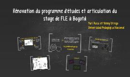 Rénovation du programme d'études et articulation du stage de