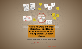 A Meta-Analysis of Gender Stereotypes and Bias in Experiment