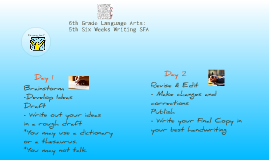 6th Grade Language Arts: 5th Six Week Writing SFA