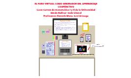 Foro virtual como generador de aprendizaje cooperativo