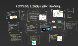 Community Ecology & Some Taxonomy...
