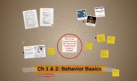 Ch 1 & 2: Behavior Basics
