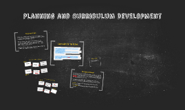Planning and Curriculum Development