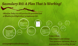 Copy of Copy of Secondary RtI: A Plan That Is Working!
