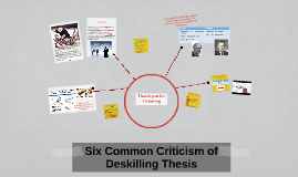 explain the deskilling thesis Sociology in the workplace topics: employment deskilling and the mixed effects the skill-upgrading thesis is the argument that continuing improvements in.