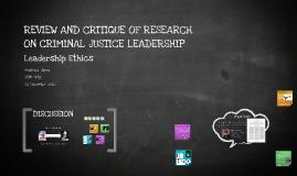 CRIM 742 Research Critique