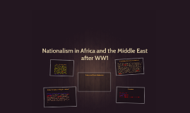 Nationalism in Africa and the Middle East after WW1