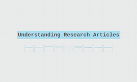 Understanding Research Articles