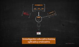 Investigación educativa básica, aplicada y evaluativa