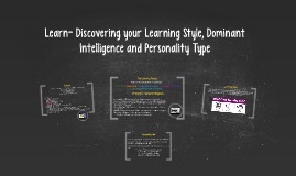 Learn- Discovering your Learning Style, Dominant Intelligenc