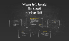 Welcome Back! (6th Grade Back to School Night 2015)