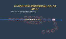 LA AUDITORÍA PSICOSOCIAL DE LOS RRHH