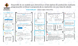 Desarrollo de un modelo para determinar el lote óptimo de producción mediante programación No lineal y propuesta de su resolución con una hoja de cálculo