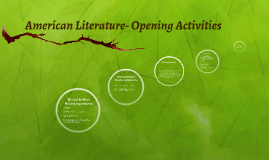 American Literature- Opening Activities