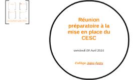Réunion préparatoire à la mise en place du CESC