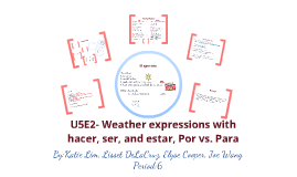 U5E2- Weather expressions with hacer, ser, and estar, por vs. para