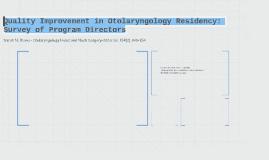 Quality Improvement in Otolaryngology Residency:
