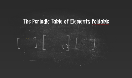 The Periodic Table of Elements Foldable