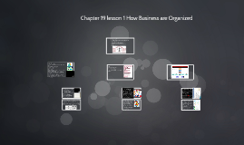 Chapter 19 lesson 1 How Business are Organized