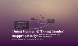 'Doing Gender' & 'Doing Gender Inappropriately