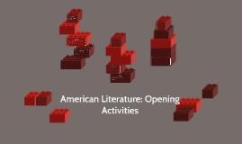 American Literature: Opening Activities