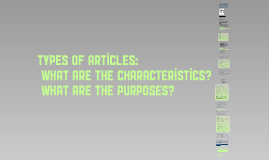 Types of Articles- what are their characteristics?