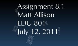 EDU801 Project Summary