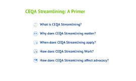 CEQA Streamlining