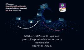 NOM-017-STPS-2008, Equipo de protección personal-Selección,
