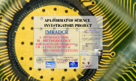 APA FORMAT OF SCIENCE INVESTIGATORY PROJECT