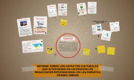 INFORME SOBRE LOS ASPECTOS CULTURALES QUE INTERVIENEN EN UN