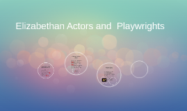 Elizabethan Actors and  Playwrights