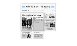 WRITERS OF THE 1920'S