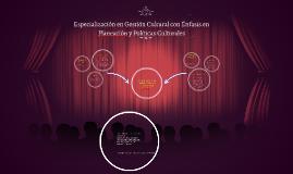 Especialización en Gestión Cultural con Énfasis en Planeació