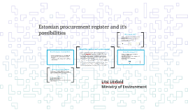 Estonian procurement register and it's possibilities