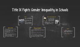 Gender Inequality in Schools