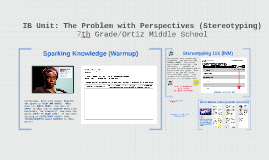 IB Unit: The Problem with Perspectives (Stereotyping)